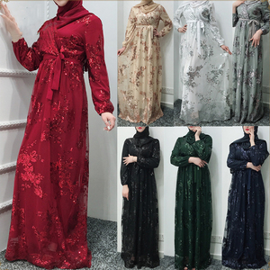 Fashion Abaya Dubai Embroidery Chiffon Dress Hijab Turkey Muslim Kaftan Islamic Cloth For Women Musulmane Ramadan V-Neck Robe