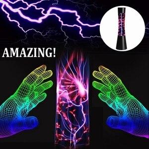 Image 5 - Magiczne światło kula kula plazmowa elektrostatyczny czujnik kuli światło elektrostatyczne światło jonowe magiczny kryształ czarne szkło + Abs wtyczka amerykańska