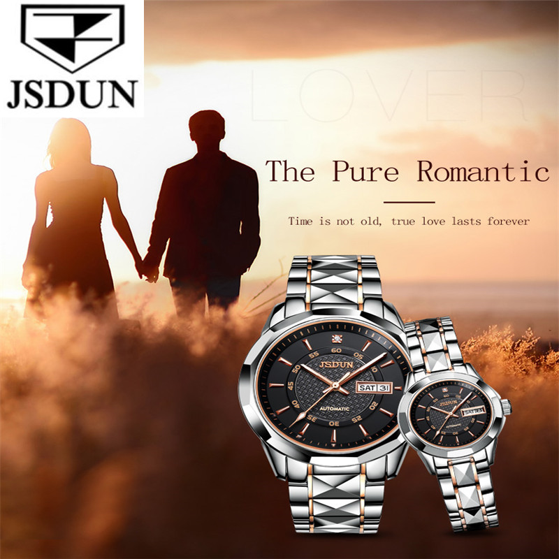 JSDUN Classic Couple Watch Waterproof Automatic Mechanical Watch Imported Movement Tungsten Steel Watch For Men Women Lover Gift