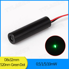8Mm Lage Bedrijfstemperatuur 0.5Mw 1Mw 5Mw 10Mw 520nm Green Dot Laser Diode Module Industriële grade Apc Driver Tylasers