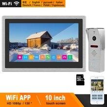 HomeFong 무선 비디오 인터콤 IP 비디오 도어 폰 Wifi 10 인치 터치 스크린 모니터 HD 1080P 초인종 홈 인터폰 빌라