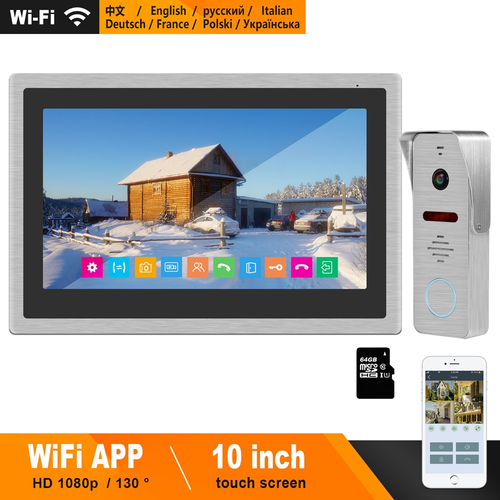 HomeFong Wireless Video Intercom IP Video Door Phone Wifi 10 inch Touch Screen Monitor HD 1080P Doorbell Home Intercom for Villa