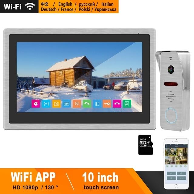 HomeFong Wireless Video Intercom IP Video Door Phone Wifi 10 inch Touch Screen Monitor HD 1080P Doorbell Home Intercom for Villa