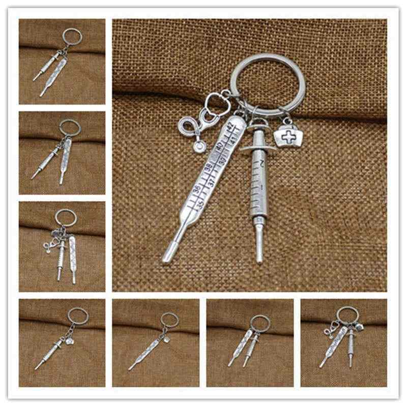 New glamour nurse medical box medical key chain needle syringe stethoscope personality fashion keychain jewelry gift