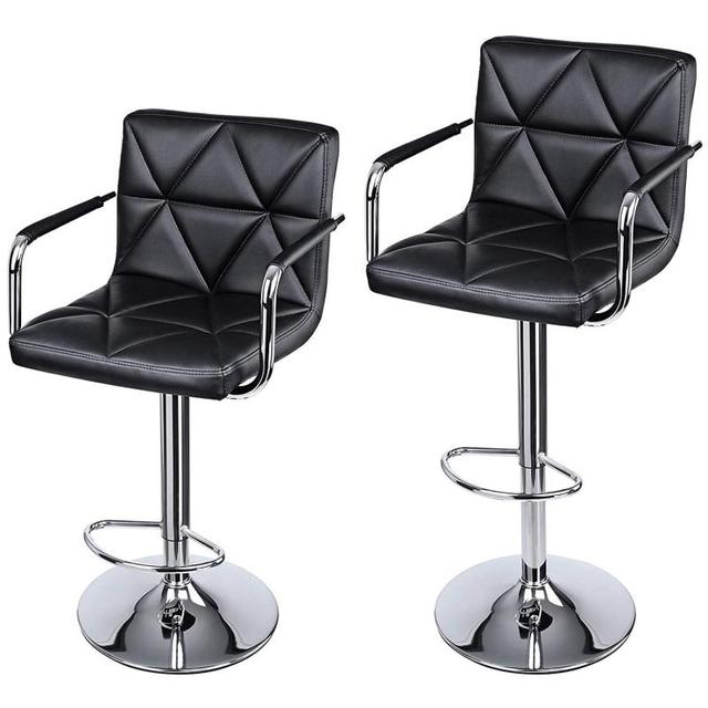2PCS/Pair Synthetic Leather Cushion Chair Adjustable Chairs With Footrest Barstool For Modern Living Room Furniture HWC