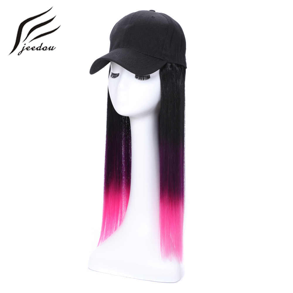 "jeedou Synthetic Hair Wig With Baseball Cap Straight 14"" 35cm 150g Black Pink Purple Ombre Color Women Girl's Wigs Hairpieces"