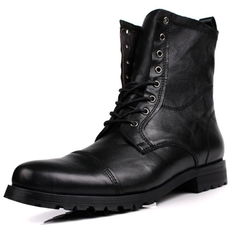 Winter Mens Fleece Lining Ankle Boots Punk Style High Quality Cow Real Leather Bikers Boots Lace Up Military Work Safety Shoes