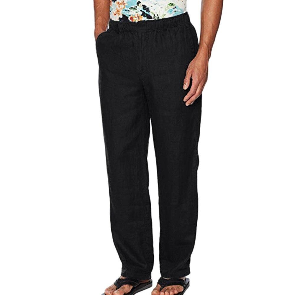H01672fd552cb4729824898a3dd4129f5b Feitong Fashion Cotton Linen Pants Men Casual Work Solid White Elastic Waist Streetwear Long Pants Trousers