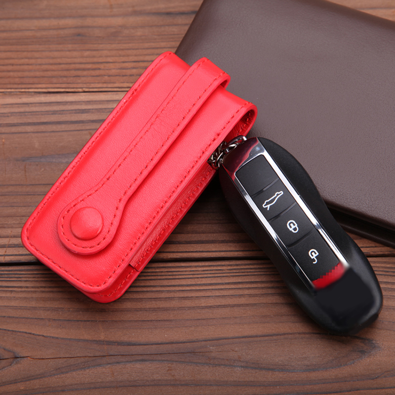 Genuine Leather Key Cover Fit For Porsche Cayenne Macan Panameras Cayman 911 2