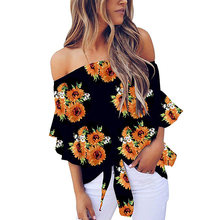 Tops Loose Sexy Casual Off Shoulder Bell Sleeves Tie Knot Elegant Summer Fashion Print Women Shirt Polyester(China)