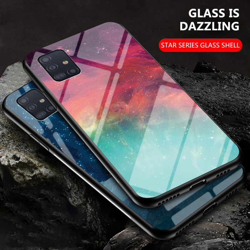 Tempered Glass Phone Case For Samsung Galaxy M A10 A20 A30 A40 A50 A60 A70 A80 A90 A01 A21 A51 A71 A81 5G M11 S Back Cover Coque