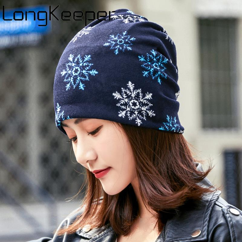 LongKeeper New Women Beanie Hat Casual Polyester Scarf Cap For Ladies Skullies Girls Snowflake 6 Colors Winter Hats Hip Hop