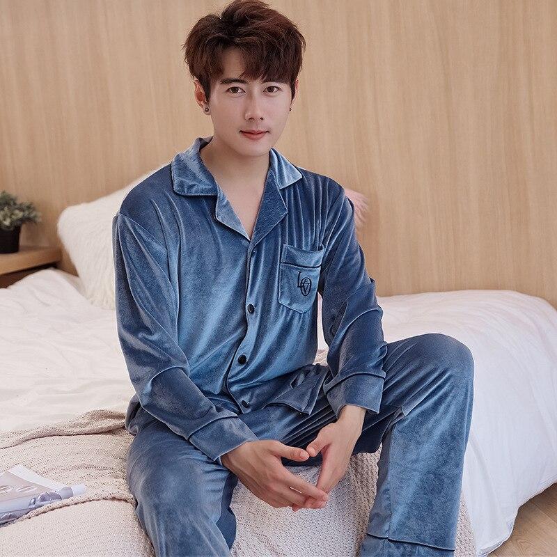 2PCS Pijamas Suit Men Velvet Comfortable Nightwear Lingerie Warm Pajamas Set Homewear Casual Soft Full Sleepwear Home Clothing