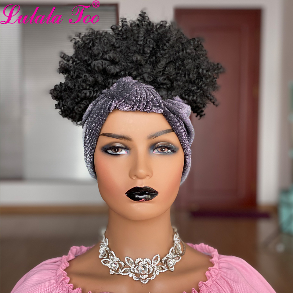 sintético bun perucas completas com anexado headwrap cor preta