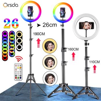 Orsda 10-12 Cal lampa pierścieniowa Led ze statywem RingLight Selfie pierścień światła do makijażu wideo na żywo Aro De Luz Para Hacer Tik Tok tanie i dobre opinie CN (pochodzenie) Rohs Wtyczka UE 3300-5600 K 10 12-inch arc-surface fill light 10-inch RGB fill light 20cm 3000K~6800K