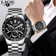 LIGE New Mens Watches Top Brand Luxury Fashion Business Quartz Watch Men Sport All Steel Waterproof Black Clock erkek kol saati lige fashion mens watches top brand luxury wrist watch quartz clock stainless steel waterproof sport watch men erkek kol saati
