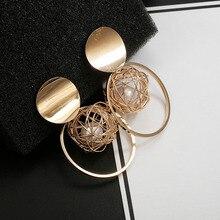 Golden Statement Earrings 2018 ball Geometric Earrings For Women Round Dangle Earrings Drop Modern Art Fashion Party Jewelry golden statement earrings 2018 ball geometric earrings for women round dangle earrings drop modern art fashion party jewelry