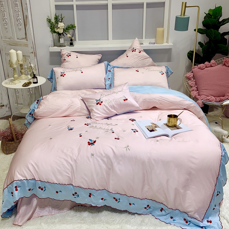 New Products 60S Long-staple Cotton 100% Cotton Four-piece Suit Pure Cotton Solid Color Embroidery Embroidered Bedding Kit