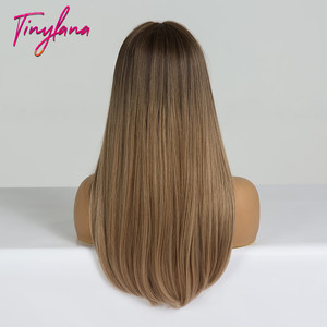 Image 4 - 小さなlanaロングオンブル茶色ブロンドかつら前髪コスプレ人工黒人女性ストレート自然なパーティー偽の髪かつら