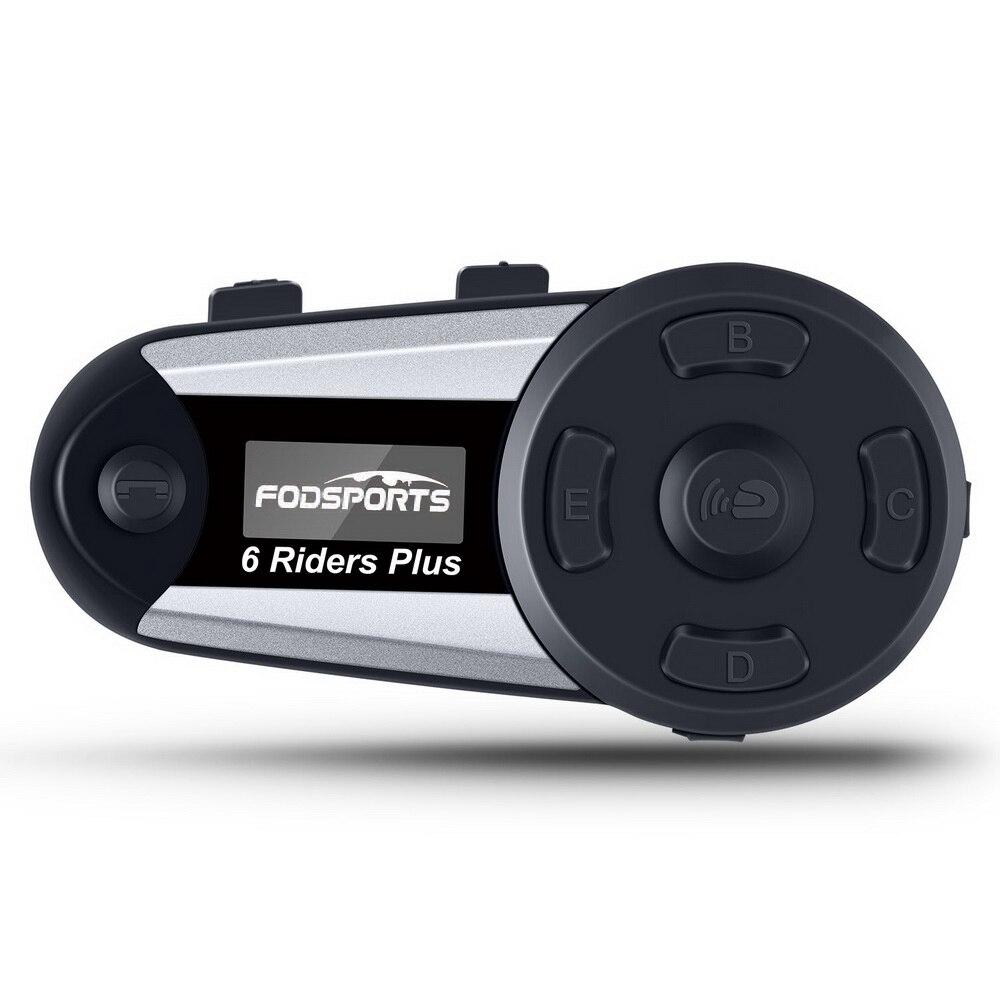 Fodsports V6 Além de Intercomunicador do Capacete Da Motocicleta Moto Capacete Bluetooth Headset 6 Pilotos 1200M BT Interfone Intercomunicador FM LEVOU