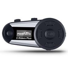 Fodsports V6 בתוספת אופנוע קסדת אינטרקום Moto Bluetooth קסדת אוזניות 6 רוכבים 1200M BT האינטרפון Intercomunicador FM LED