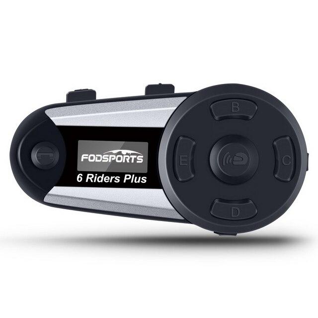 Fodsports V6 プラスオートバイヘルメットインターコムモトbluetoothヘルメットヘッドセット 6 ライダー 1200 メートルbtインターホンintercomunicador fm led