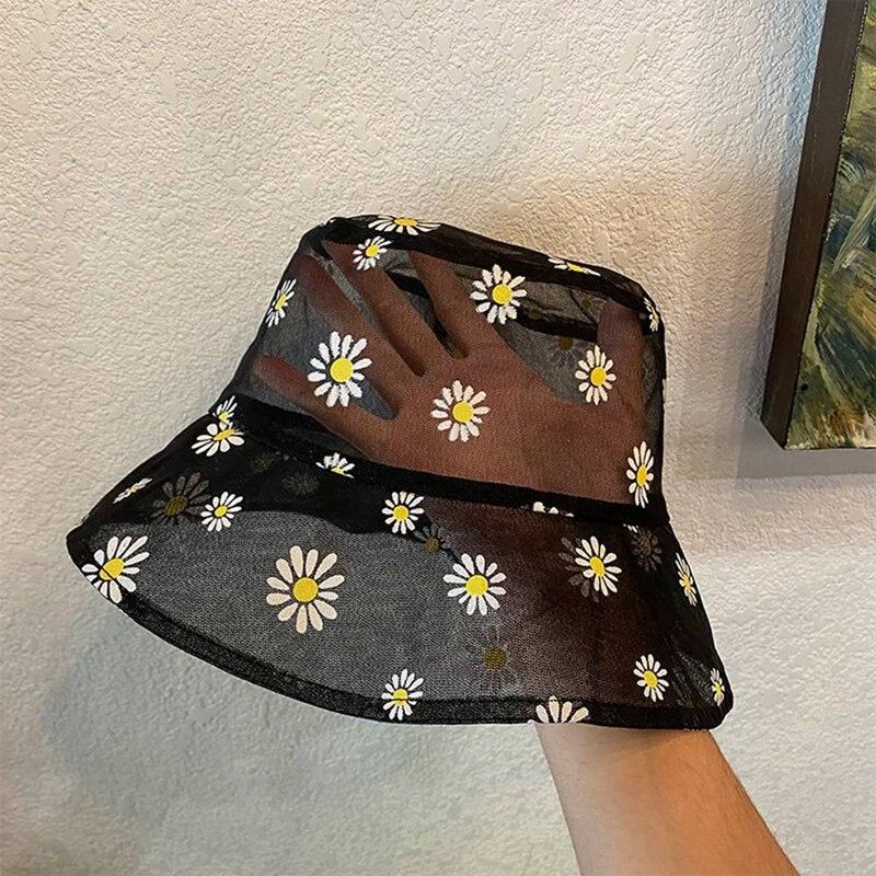 Женская прозрачная пляжная шляпа с вышитыми ковшами и цветочным кружевом, Пляжная Панама с высоким берцем, Snapback, модная Маргаритка, летняя солнцезащитная Кепка|Женские кепки летнии|   | АлиЭкспресс