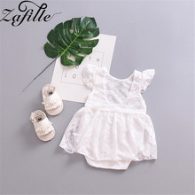 ZAFILLE 2020 Summer Baby Romper Lace Baby Girl Clothes Flare Sleeve Newborn Infant Jumpsuit White Girls Clothing Toddler Romper newborn baby girl romper long sleeve baby rompers winter baby girls clothes toddler girl romper infant jumpsuit 3pcs set d30