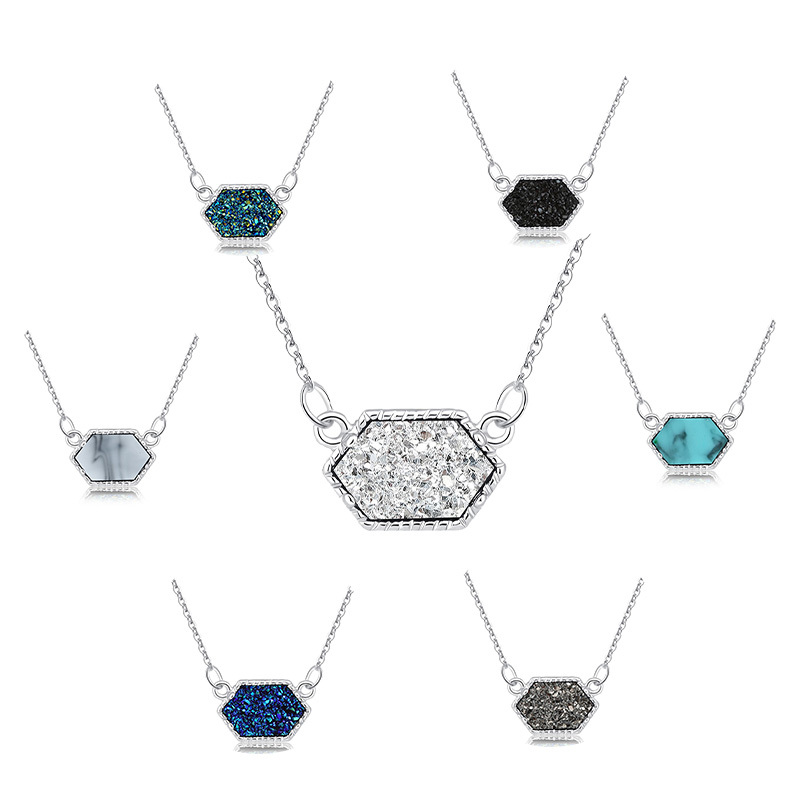 14 Colors Druzy Drusy Necklace Fashion Oval Resin Faux Stone Necklace Gold Silver Plated Brand Jewelry for Women Girls