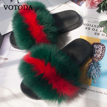 Women Real Fox Fur Fluffy Slippers Ladies Indoor Plush Sandals Lovely Plush Slides Furry Casual Beach Flip Flop Flats Home Shoe цена 2017
