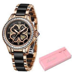 Image 5 - Reloj de oro rosa para mujer, relojes de cuarzo para mujer, reloj de pulsera femenino, regalo para esposa y caja