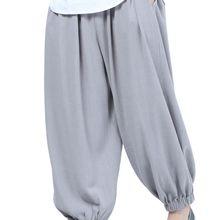 Зимние теплые хлопковые и льняные брюки для медитации буддизм дзен штаны шаолин монах Кунг блумеры для кунг-фу черный/красный/серый