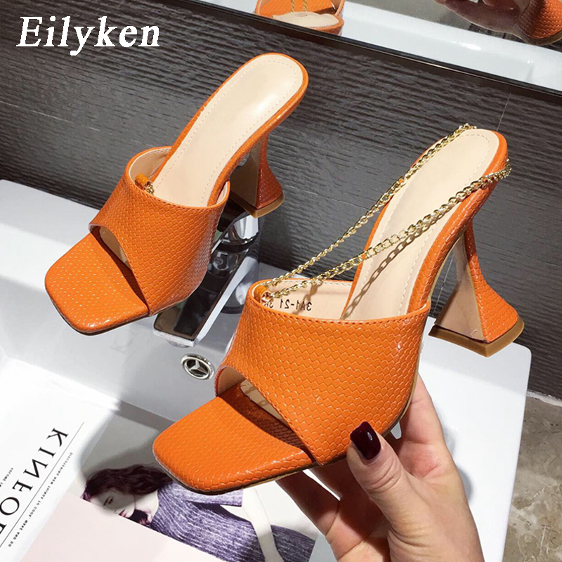Eilyken High Heels Square head Sandals Women Snake Print Leather Peep Toe Shoes Design Metal Chain Slip On Slipper Plus Size 41