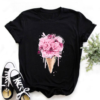 Women ice cream T Shirt Print Letter T-shirt Casual Black Short Sleeve Tops Summer Brand clothing letter print drop shoulder t shirt