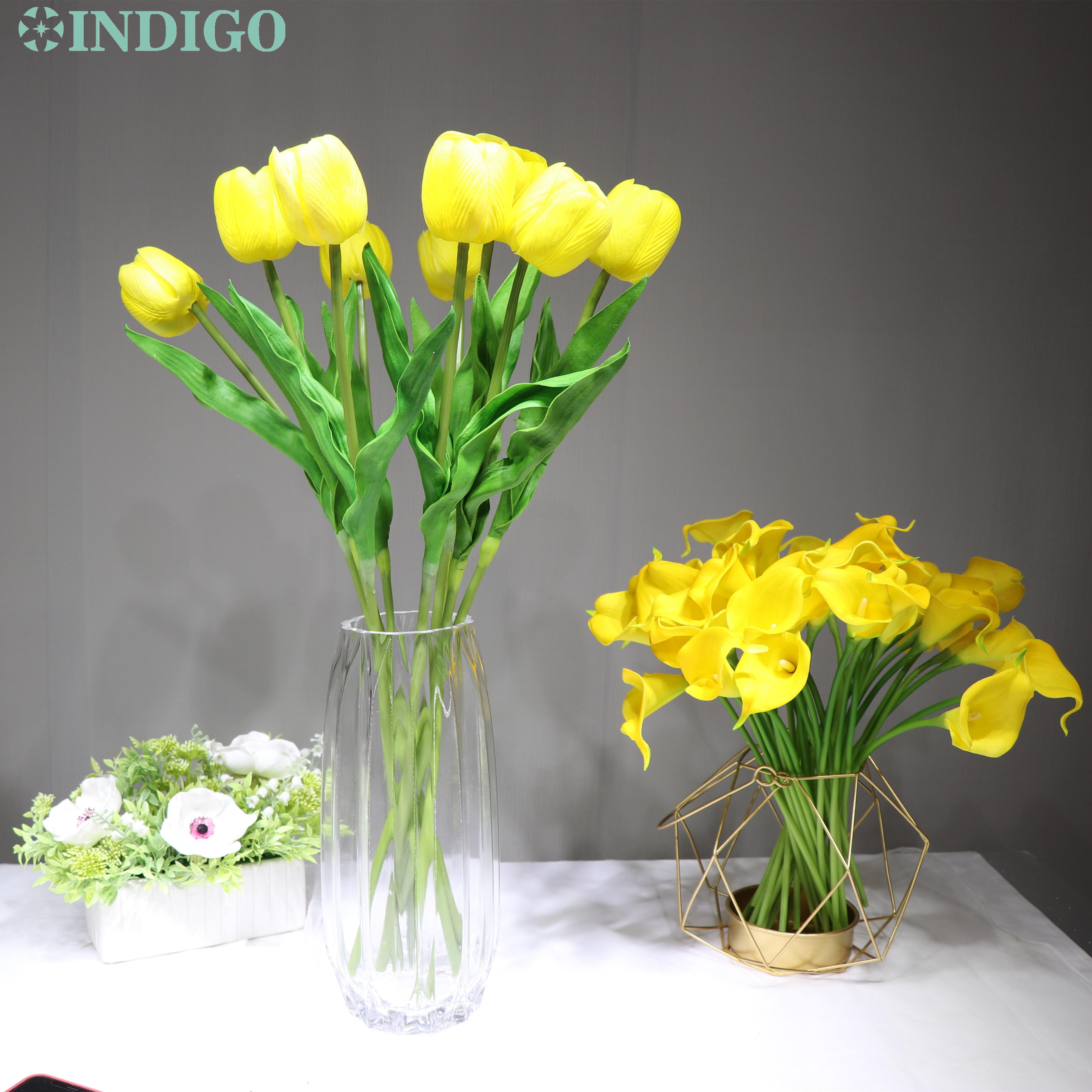 INDIGO - 5PCS/Lot Holland PU Yellow Tulip Decorative Artificial Flower Wedding Flower Home Hotel Party Event Decoration-3