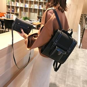 Image 3 - 2 unids/set de mochilas de cuero para mujer, mochila para chica adolescente, mochila para mujer, bolsas de viaje de Pu de gran capacidad, bolso escolar Vintage