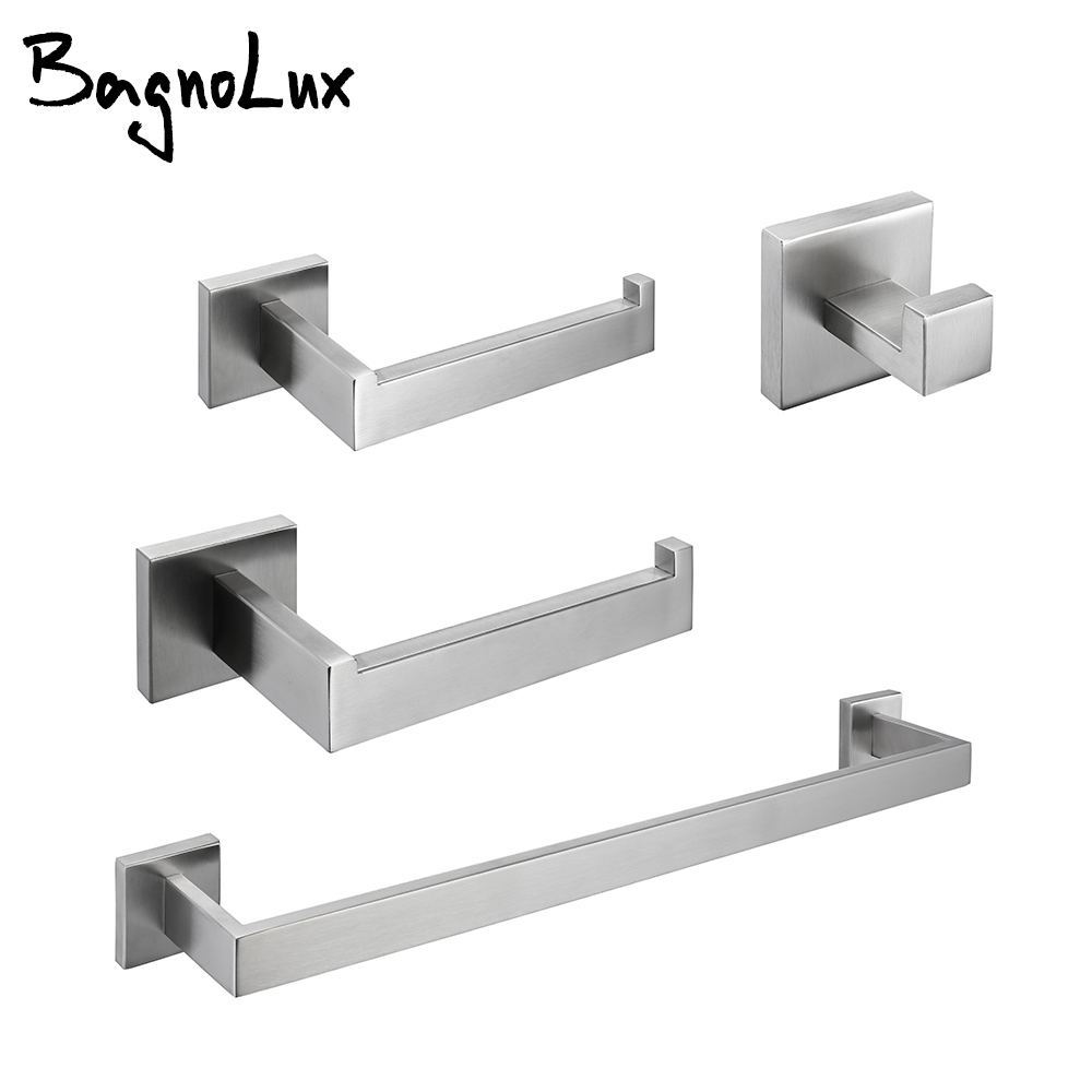 Wholesale Brushed Gold Wall-mount Stainless Steel Clothes hook Toilet Paper Holder Towel Bar Hardware Bathroom Accessories