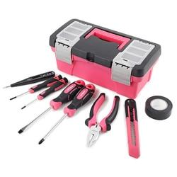 Mini rozmiar różowy zestaw narzędzi ręcznych ogólne gospodarstwa domowego naprawa zestaw narzędzi ręcznych z śliczne różowe pudełko śrubokręt nóż elektryk Test ołówek w Zestawy narzędzi ręcznych od Narzędzia na