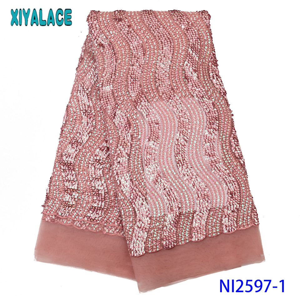2019 Latest Lace Fabric Blue Embroidered Lace Sequences Net Laces African Fabric Lace With Sequins  For Nigerian Dress KSNI2597
