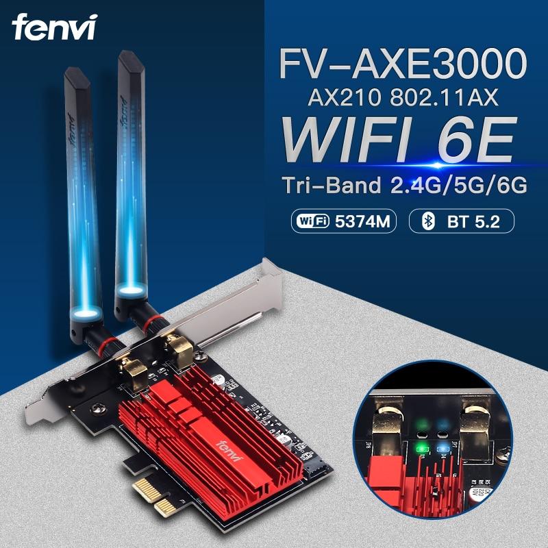 Fenvi Wi-Fi 6E 802.11AX Wireless PCIe WiFi Adapter 3000Mbps 2.4G/5G/6Ghz AX210NGW For Desktop PC Intel AX210 Card Bluetooth 5.2