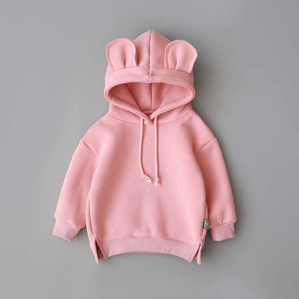 Baby coat Toddler Baby Kids Boy Girl clothes Hooded Cartoon 3D Ear Hoodie Sweatshirt Tops Clothes roupa infantil drop shiping