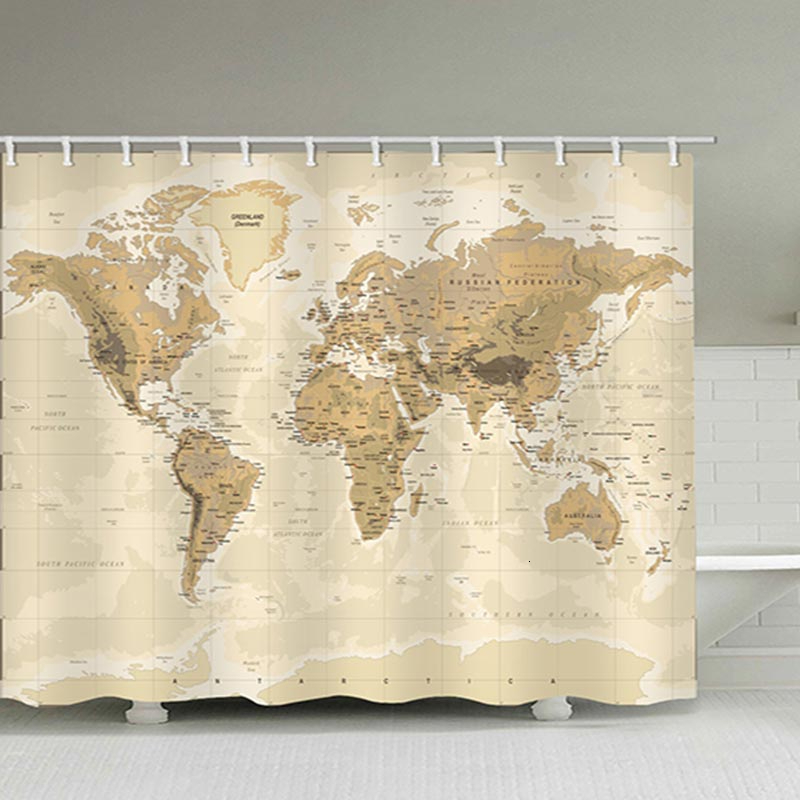 world map door bathroom shower curtains vintage style retro frabic waterproof polyester bath curtains with hooks