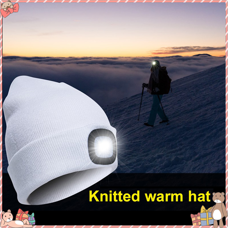 LED Lighted Cap Hat Autumn Spring Warm Beanies Outdoor Fishing Running Beanie Hat Flash Men Women Camping Climbing Caps