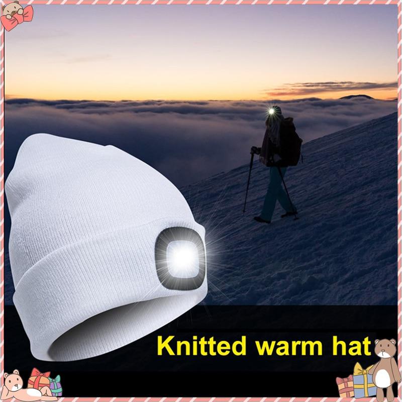 LED Lighted Cap Hat Autumn Spring Warm Beanies Outdoor Fishing Running Beanie Hat Flash Men Women Camping Climbing Caps