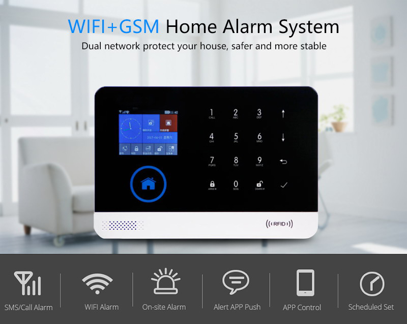 Yobang Security APP Wifi GSM GPRS SMS Alarm System RFID Arm/Disarm Autodial Security Alarm DIY Burglar Alarm Siren Sensor Kits