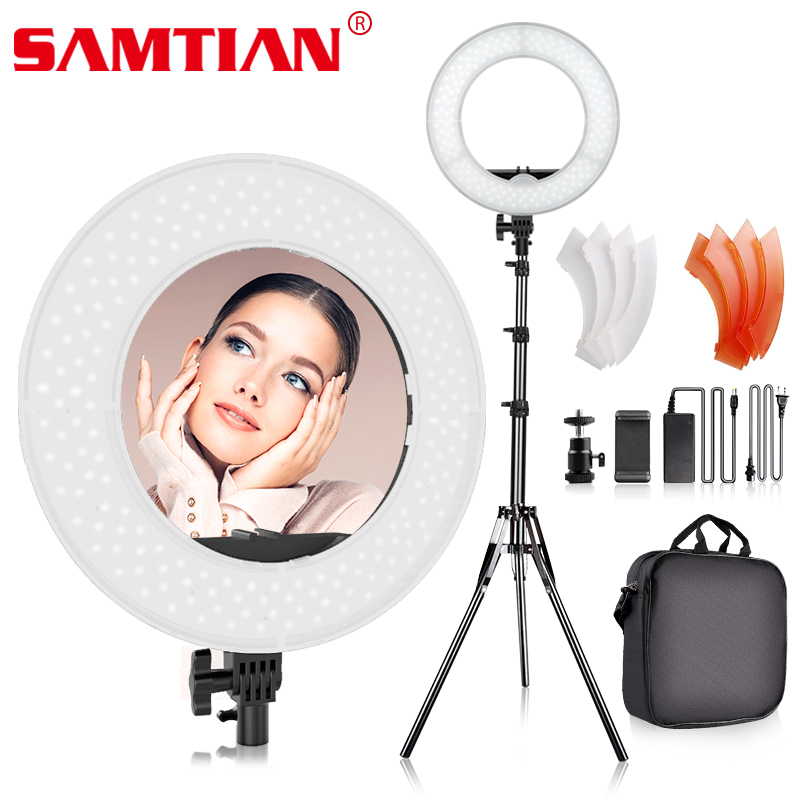 SAMTIAN RL-12 LED Ring Light With Tripod For Studio Photography Light Dimmable Annular Lamp 196PCS 5500K Ring Make-up Light