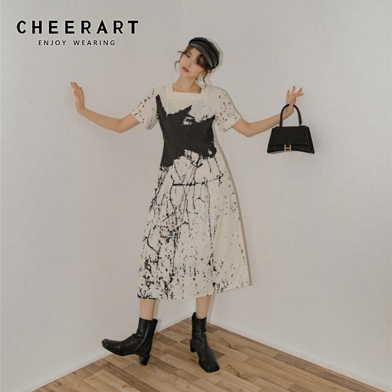 CHEERART White Print Long Designer Dress Women White Square Collar Short Sleeve A Line Summer Dress 2020 Clothing