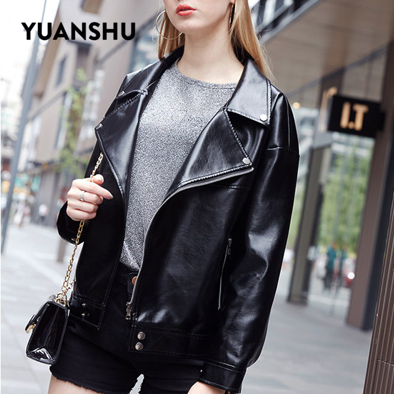 Yuanshu 2019 New Soft PU Faux   Leather   Jackets Women Sexy Biker Motorcyle Cool Jacket Black Lady Spring Autumn Short Outerwear