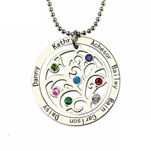Xiaojing 925 Sterling Silver Tree of Life Necklace Personalized Custom Family Name&birthstone Fine Jewelry for Mothers Day Gift