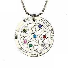Xiaojing 925 ayar gümüş hayat ağacı kolye kişiselleştirilmiş özel aile adı ve birthstone güzel takı anneler günü için hediye
